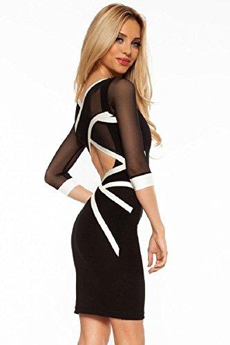 Nuevas señoras blanco y negro cruz de malla parte trasera abierta Bodycon Mini vestido Club Wear fiesta wear tamaño M UK 10–�?2EU 38–�?0