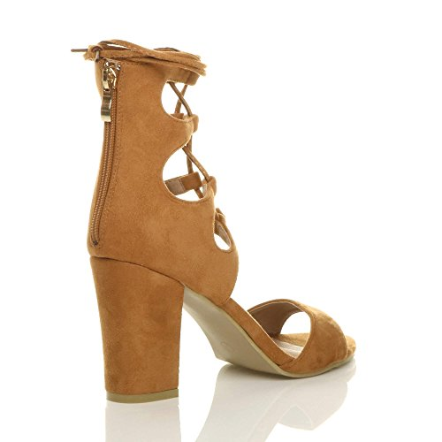Wrap Tie Tan Heel Ajvani up High Around Suede Size Sandals Womens Lace Ankle Shoes pXwC1wq