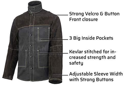 Waylander Welding Jacket Medium Split Leather Heat Fire Resistant Cotton Kevlar Stitched Cowhide Dark Brown - M by Waylander (Image #4)