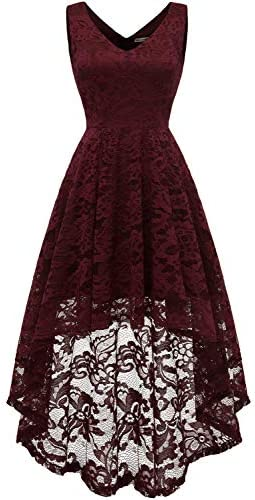 MUADRESS Women`s Sleeveless Hi-Lo Lace Formal Dress Cocktail Party Dress V Neck