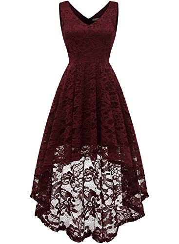 MUADRESS 6666 Women's Sleeveless Hi-Lo Lace Formal Dress Cocktail Party Dress V Neck Burgundy Medium