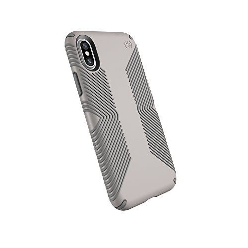 Speck Products Presidio Grip Cell Phone Case For iPhone XS/iPhone X - CATHEDRAL GREY/SMOKE GREY
