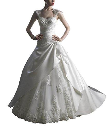 Weiß Schatz Zug Perlen LinIe A BRIDE Applikationen Kleid Prinzessin Brautkleider Kapelle Hochzeitskleider Organza mit GEORGE n6xwRcWYn