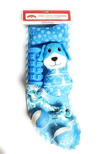 (Holiday Time Dog Toys Stocking with Six (6) Blue Pet Toys Including Balls Squeakers and Tug-of-War Rope)