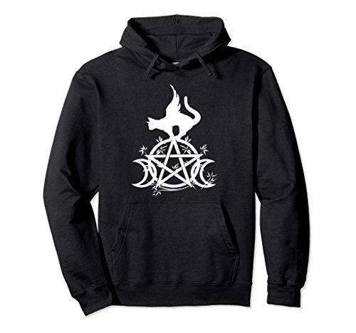 Unisex Triple Moon Wicca Witchcraft Winged Cat Moon Goddess Hoodie Large - Winged Witch