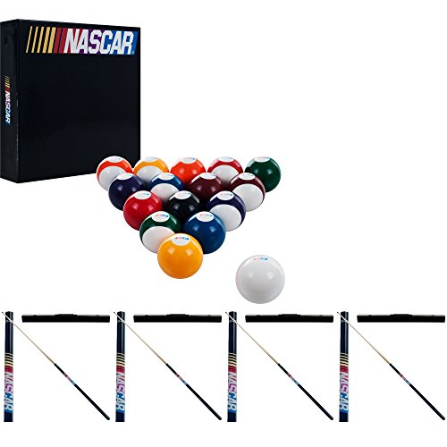 NASCAR Billiard Cue Sticks and Ball Set, Multiple Colors, Official by Trademark Global