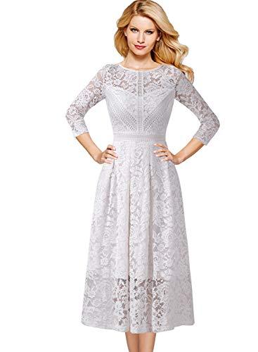 (VFSHOW Womens Vintage Floral Lace Cocktail Wedding Party A-Line Midi Dress 1003 WHT M)
