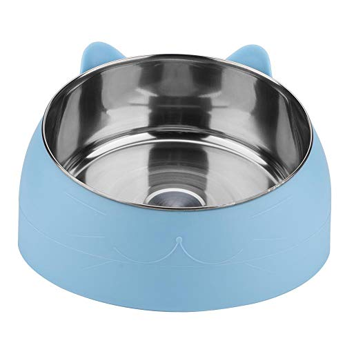 15 Degree Slanted Bowl for Dogs and Cats Stainless Steel Tilted Pet Bowls Pet Feeding Bowl Food Water Feeder Holder Cat Feeding Dish Protect The Spine(Green) ()