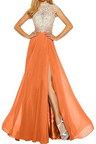 ivyd ressing Mujer Elegante dos notebook gasa & tuell piedras a de línea vestido de fiesta Prom vestido fijo para vestido de noche naranja