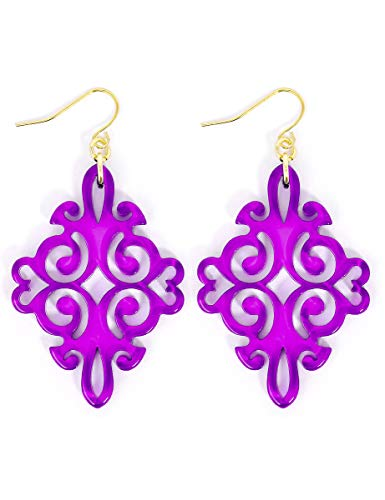 (ZENZII Acrylic Resin Twirling Drop Earrings for Women (Purple))