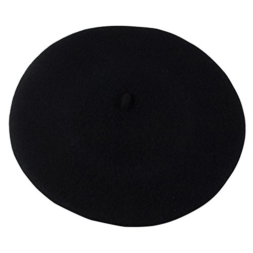 Ayliss Women's Beret Hat Solid Color French Style Wool Beret Beanie (Head Circumference, Black)