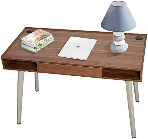 Dporticus 47 Modern Computer Desk Workstation with Drawer PC Laptop Table Writing Desk Study Home Office Furniture Brown