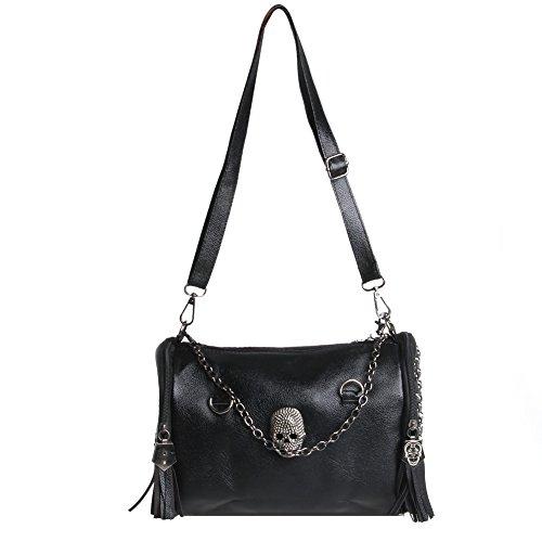 OHTOP Women Leather Cross Shoulder Bag Skull Rivet Tassels Tote Handbag Satchel Purse (Skull Purse)