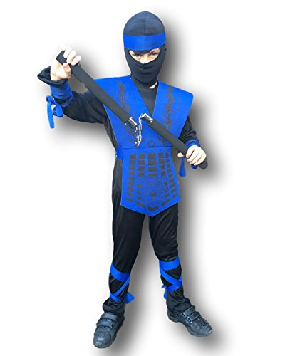(Rubber Johnnies Shadow Ninja Costume, Mortal Zero Combat, Dragon, Costume (8-10 Years) (Large) Navy)
