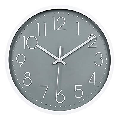 JUSTUP 12in Non-Ticking Wall Clock, Silent Battery Operated Wall Clock with ABS Frame HD Glass Cover for Kids Living Room Bedroom Kitchen School Office Decor (Gray) - NON-TICKING: Precise Quartz Sweep Movement guarantees accurate time and absolutely silent environment. ELEGANT DESIGN: White electroplated on frame and white Arabic numbers with gray background. EASY TO READ: Silent wall clock with large numbers are clear to read, front glass cover guarantees perfect view and keeps dust away from dial. - wall-clocks, living-room-decor, living-room - 41sRxUZjh9L. SS400  -