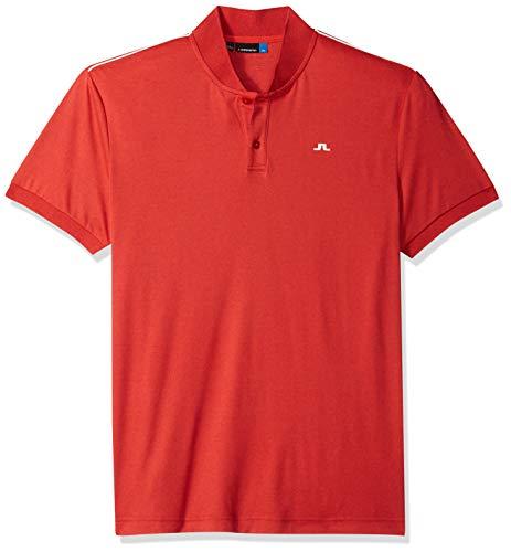 J.Lindeberg Men's Modern Cotton Polo Shirt, Racing red Melange, Large (Polo Racing Mens)