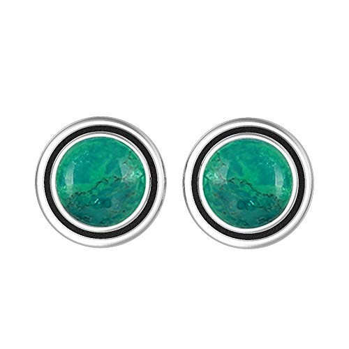 (Natural 7mm Round Shape Turquoise Stud Earrings 925 Silver Plated Handmade Stud Earrings Jewelry For Women Girls)