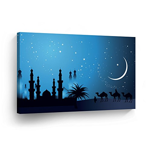 Islamic Wall Art Arabian Nights with the Stars Canvas Print Home Decor Arabic Calligraphy Decorative Artwork Gallery Stretched and Ready to Hang -%100 Handmade in the USA - 19x28 by SmileArtDesign