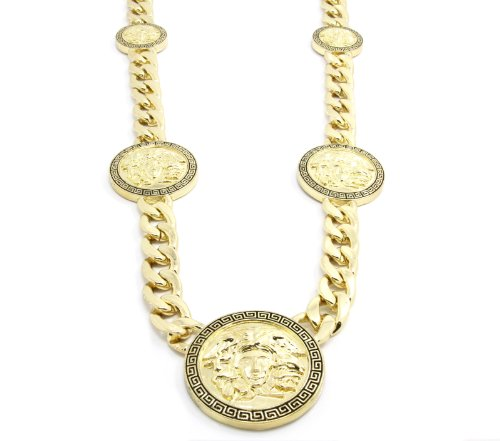 "Mens Gold Tone Pattern 5 Medallion Medusa Greek 14mm 30"" Cuban Curb Link Chain Pendant Necklace"