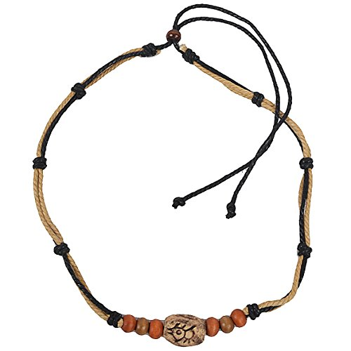 JESSE · RENA Men's Jewelry Hemp Beach Choker Pendant Surfer Necklace Accessories (Beige/Black)