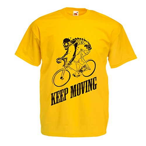 T shirts for men Motivational Quotes - The life is like riding a bicycle. To keep your balance, you must keep moving. (Medium Yellow Multi Color)