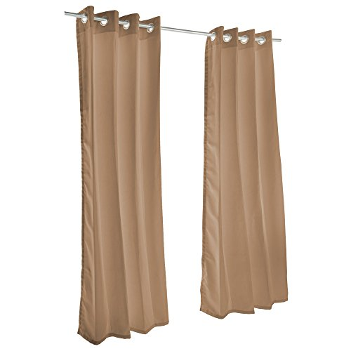 Sunbrella Outdoor Curtain with Nickel Grommets - Canvas Cocoa (50