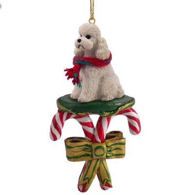 Conversation Concepts White Poodle Sportcut Candy Cane Christmas Ornament