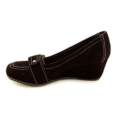 Kelly & Katie Sandro Women's Regular Suede Classic Slip On Chunky Heel Dress Shoes (9.5, Dark Brown) by Kelly and Katie