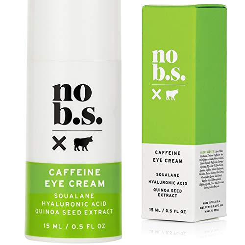 41sRyR2M9vL - No B.S. Caffeine Eye Cream With Hyaluronic Acid and Plant Based Squalane. Firming Under Eye Cream For Dark Circles And Crows Feet Wrinkles. Puffy Eye Treatment. Rapid Results.