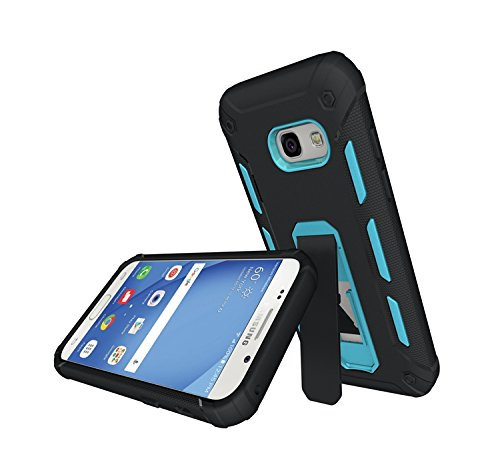 GR Para Samsung Galaxy A3 2017 A320 TPU y PC resistente de doble capa con caja de Kickstand Cool a prueba de golpes Armor Hybrid ( Color : White ) Blue