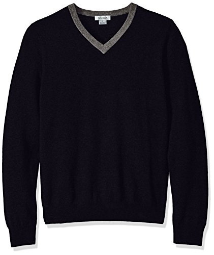 Phenix Cashmere Mens 100% V-Neck Sweater with Contrast Collar Elbow Patches