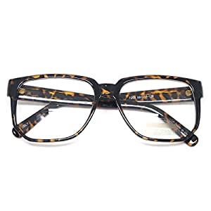 Classic Square Horn Rimmed Nerdy Eye glasses Spectacles Geek Clear Lens Glasses (TORTOISE E7268, Clear)