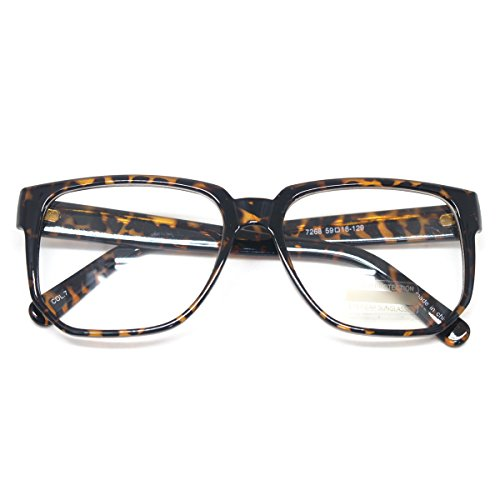 Classic Square Horn Rimmed Nerdy Eye glasses Spectacles Geek Clear Lens Glasses (TORTOISE E7268, - Fashion Spectacles Mens