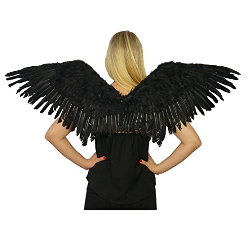 Adult Mockingbird Large Wings Costume - Black Angel Fairy Cosplay Halloween Feather Wing