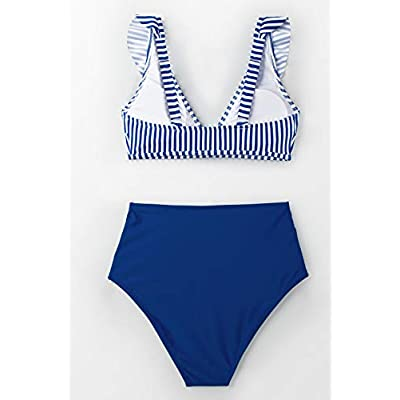 CUPSHE Women's Striped Ruffles High Waisted Bikini: Clothing