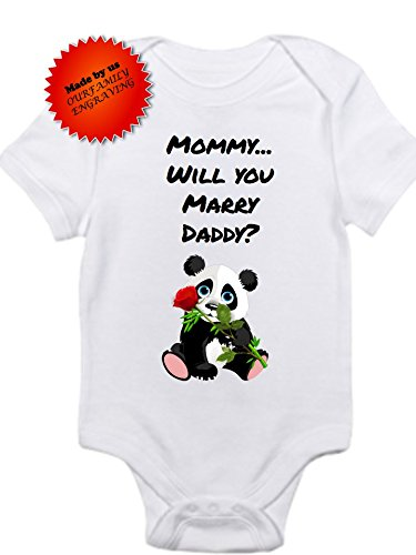 05ee3bacf Amazon.com  Mommy will you marry Daddy proposal panda onesie marry ...