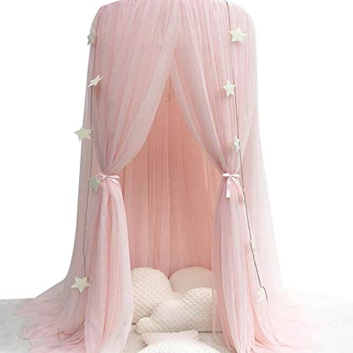 Mosquito Net for children, Cotton Yarn Mosqutio Net Hanging Curtain, Baby Round Dome Princess Room for Indoor Playing, Reading Tent, Bed & Bedroom Decoration (High 240cm, Dome Diameter 60cm) (Pink)