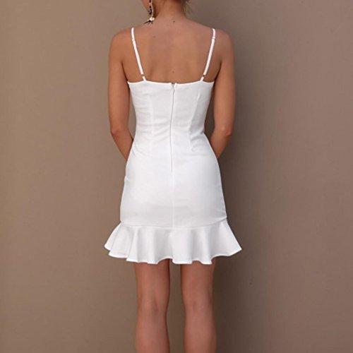 Vestidos verano cortos mangas fiesta hombro irregular Amlaiworld Sexy mujer elegantes volantes de vestidos Vestidos mujer de Blanco de mujeres de cortos mujer Mini vestido sin con Vestido rrdxCwq