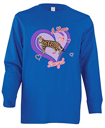 Tenacitee Girl's Youth Bengal Cat Long Sleeve T-Shirt, X-Small, Royal Blue