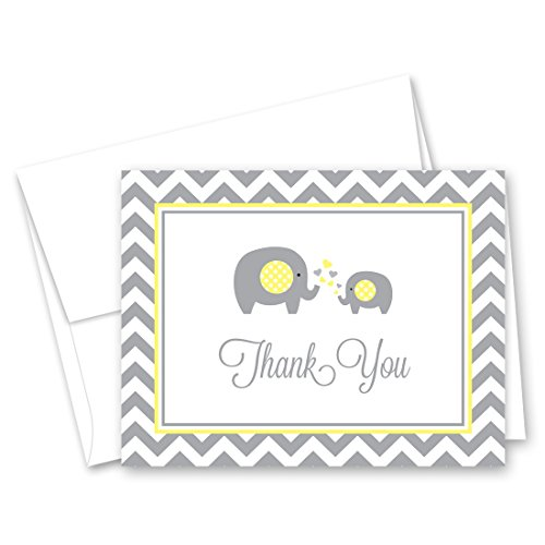 Gray Stationery - MyExpression.com 50 Cnt Grey Yellow Chevron Elephant Baby Thank You Cards