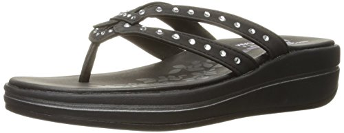 Skechers Women's Upgrades Be-Jeweled Flip Flop,Black Jewel,6 M US