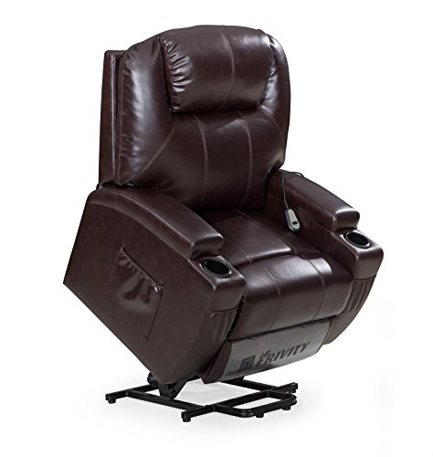 FrHome Power Lift Recliner Chair, Classic and Traditional Comfy Bonded Leather Living Room Chair with Overstuffed Arms and Back, Brown