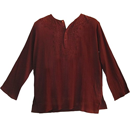 Yoga Trendz Mens Indian Cranberry Bohemian Crinkled Cotton Embroidered Tunic Shirt Kurta