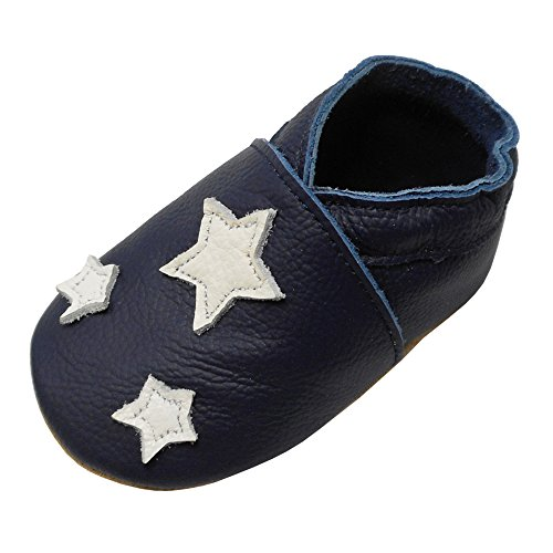 YIHAKIDS Soft Sole Leather Baby Shoes Toddler Moccasins Prewalker Baby Slippers (12-18 Months M US Infant, Navy Blue,Star)