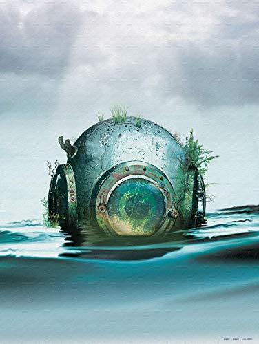 steam punk poster scuba deep sea diver helmet ocean kids decor | oddities curiosities vintage diving marine fun coastal retro steampunk lagoon wall art | Unique and ready to frame 18x24 sci fi print