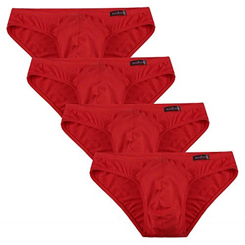 Avidlove Men Underwear Micromodal Bikinis 4 Pack Briefs, Red (FBA), Large