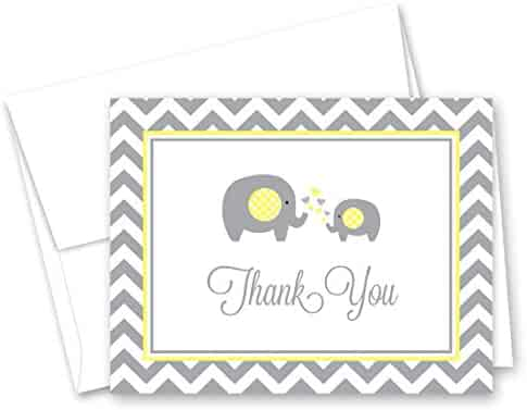 50 Cnt Grey Yellow Chevron Elephant Baby Thank You Cards