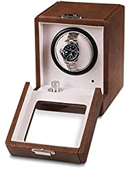 Unisex Brown Faux Crocodile Leather Suede Lining Turnable Watch Winder