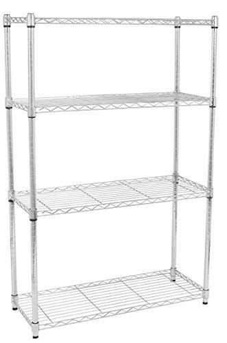 Internet's Best 4-Tier Wire Shelving | Chrome | Heavy Duty Shelf | Wide Adjustable Rack Unit | Kitchen Storage (Depth 4 Shelf)