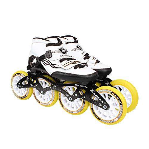 足胚芽子供時代ailj ローラースケート4輪90MM-110MM車輪調整可能なインラインスケート、ストレートスケートシューズ(4色) (色 : イエロー いえろ゜, サイズ さいず : EU 45/US 12/UK 11/JP 27.5cm)